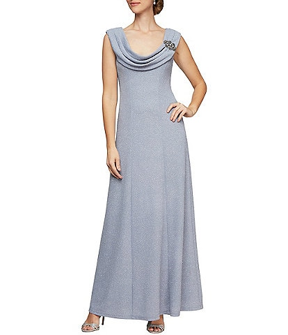 Alex Evenings Embellished Cowl Neck Stretch Metallic Knit Gown