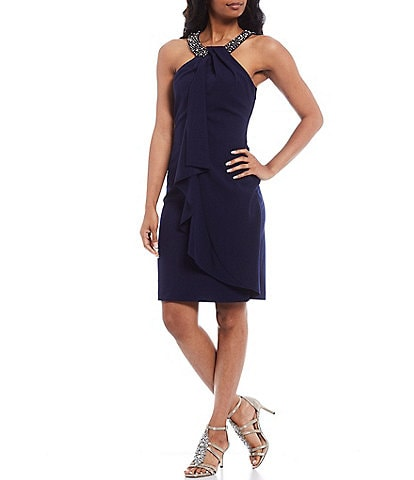Alex Evenings Embellished Halter Neck Ruffle Sheath Dress