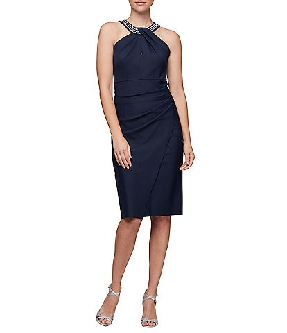Alex Evenings Embellished Halter Sheath Dress