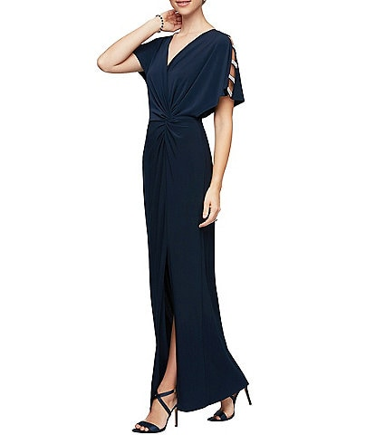 Alex Evenings V-Neck Embellished Sleeve Knot Front Stretch Matte Jersey Gown