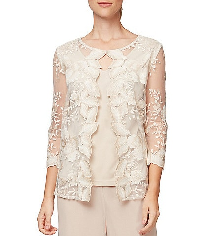 Alex Evenings Embroidered Illusion 3/4 Sleeve Mock Twinset