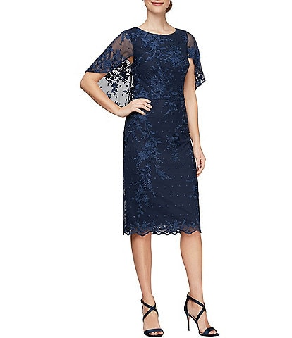 Alex Evenings Embroidered Illusion Capelet Flutter Sleeve Sheath Dress