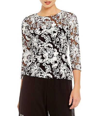 Alex Evenings Embroidered Illusion Lace Blouse