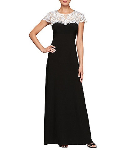 Alex Evenings Embroidered Illusion Lace Yoke A-Line Gown