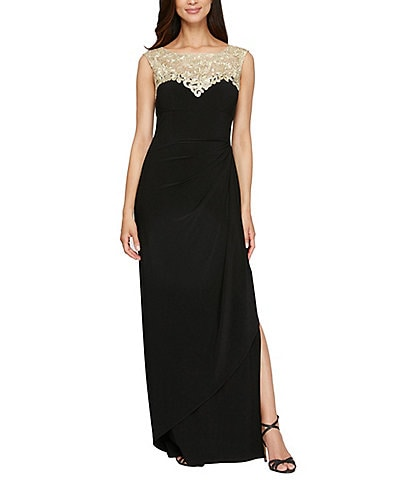 Alex Evenings Embroidered Neck Sleeveless Long Gown