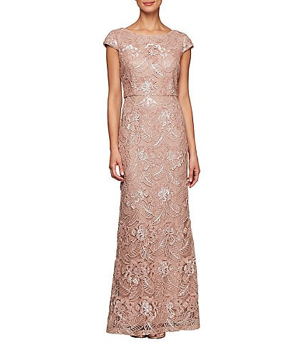Alex Evenings Embroidered Sequin Cap Sleeve Gown