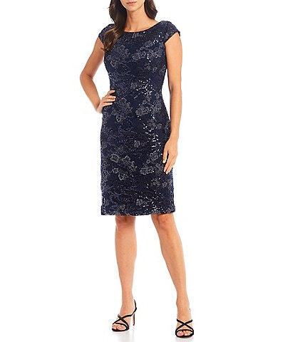 Alex Evenings Embroidered Stretch Tulle Cap Sleeve Boat Neck Short Sheath Dress
