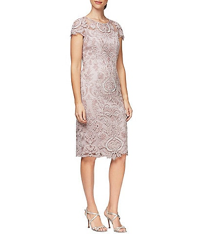 Alex Evenings Embroidered Stretch Tulle Cap Sleeve Sheath Dress