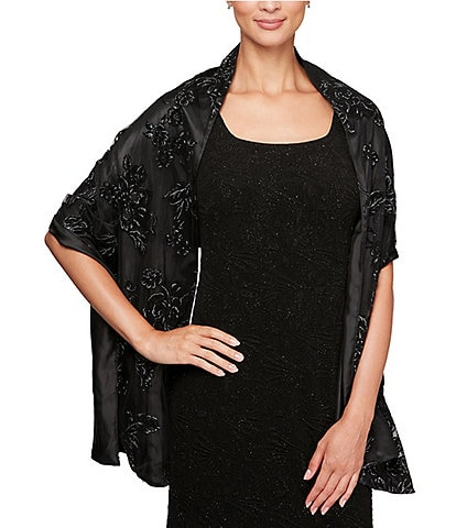 Alex Evenings Flocked Glitter Rectangular Shawl