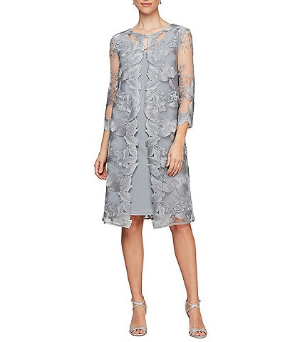 Alex Evenings Floral Embroidered 3/4 Sleeve Jacket Dress