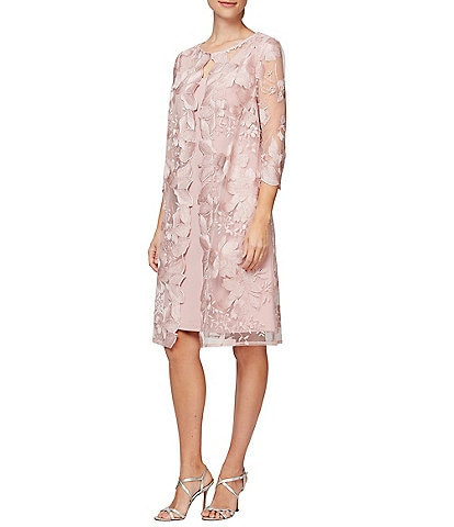 Alex Evenings Floral Embroidered 3/4 Sleeve Mock Jacket Dress
