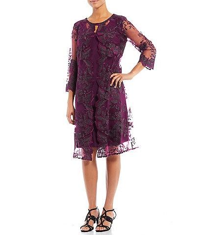 Alex Evenings Jewel Neck Floral Embroidered 3/4 Sleeve Jacket Dress