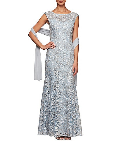Alex Evenings Floral Embroidered Illusion Neck Cap Sleeve Gown