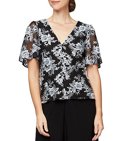 Alex Evenings Floral Embroidered Sequin Lace Short Flutter Sleeve Blouse