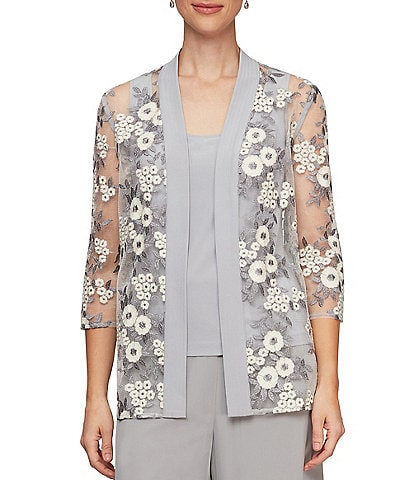 Alex Evenings Floral Embroidered Stretch Tulle Matte Jersey Twinset