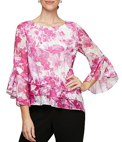 Alex Evenings Flutter Sleeve Asymmetric Hem Floral Chiffon Blouse