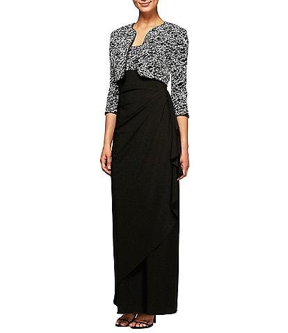 Alex Evenings Glitter Embroidered Empire 2-Piece Jacket Dress