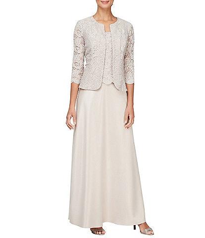 Alex Evenings Glitter Lace Scallop Hem Bodice 2 Piece Jacket Dress
