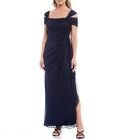 Alex Evenings Glitter Mesh Square Neck Cold-Shoulder Gown