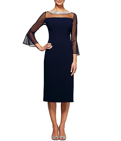 Alex Evenings Illusion Mesh Bell Sleeve Crepe Sheath Dress