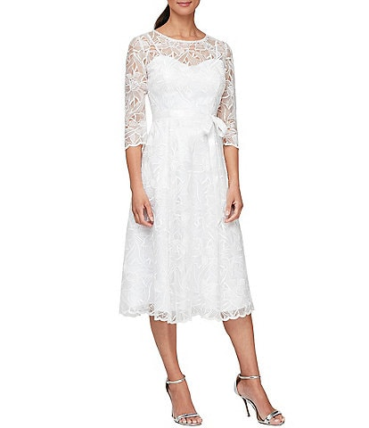 Alex Evenings Illusion Round Neck 3/4 Sleeve Embroidered Lace Dress