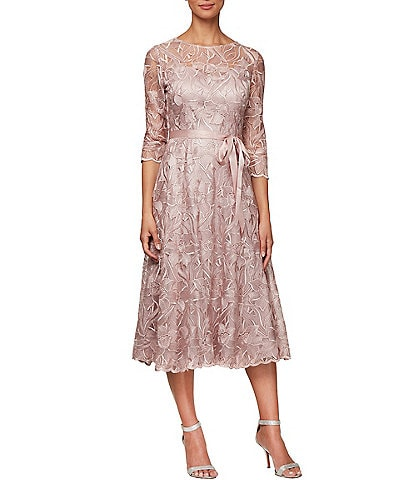 Alex Evenings Illusion Neck 3/4 Sleeve Embroidered Lace Dress