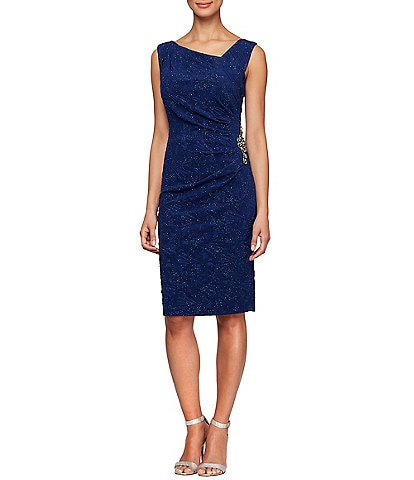 Alex Evenings Jacquard Glitter Knit Asymmetric Neck Sleeveless Sheath Dress