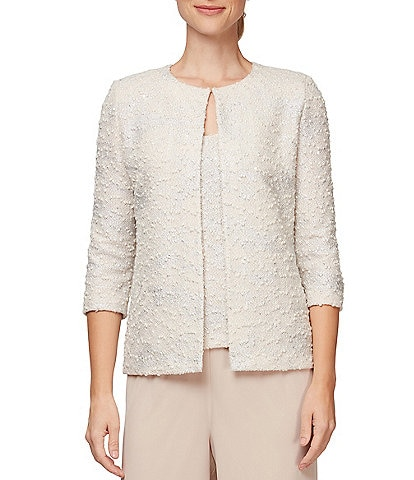 Alex Evenings Jacquard Knit Twinset