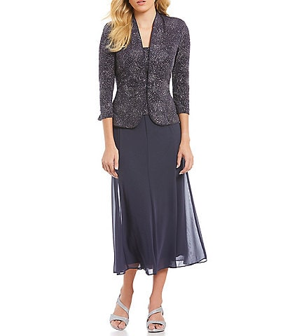 Alex Evenings Jacquard Tea-Length Jacket Dress
