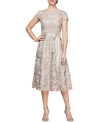 Alex Evenings Lace Cap Sleeve A-Line Midi Dress