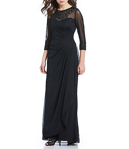 207847691a Alex Evenings Long A-Line Beaded Illusion Sweetheart Neckline Dress