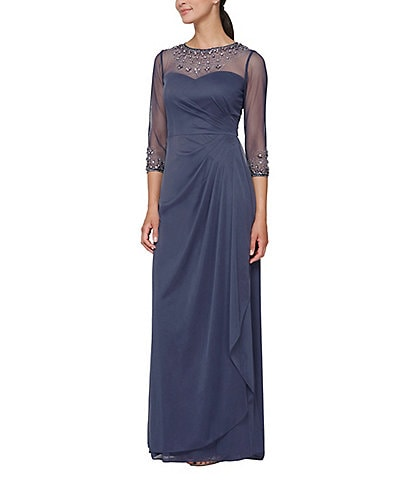 Alex Evenings Long A-Line Beaded Illusion Sweetheart Neckline Dress