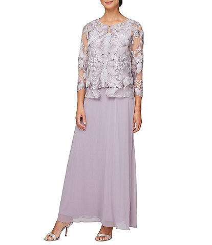 Alex Evenings Long Embroidered Lace 2-Piece Jacket Dress