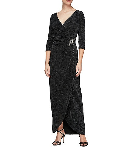 Alex Evenings Long Surplice V-Neck Metallic Tulip Wrap Dress