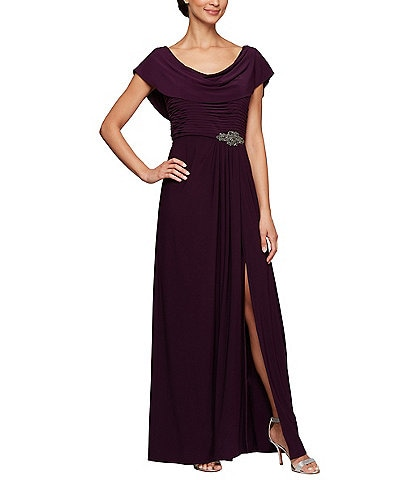 Alex Evenings Matte Jersey Cowl Neck Cap Sleeve Pleated Long Gown