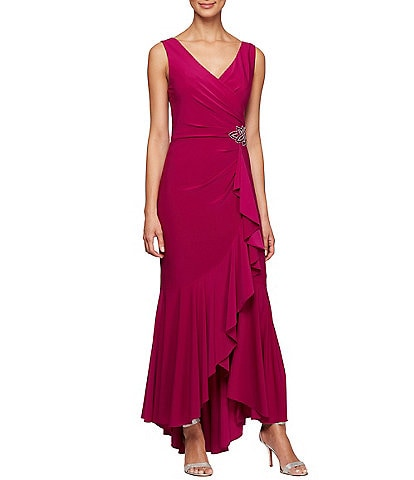 Alex Evenings Matte Jersey Ruffle Hi-Low Embellished Hip Detail Sleeveless Gown