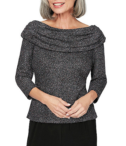 Alex Evenings Metallic Knit Ruched Cowl Neck 3/4 Sleeve Blouse