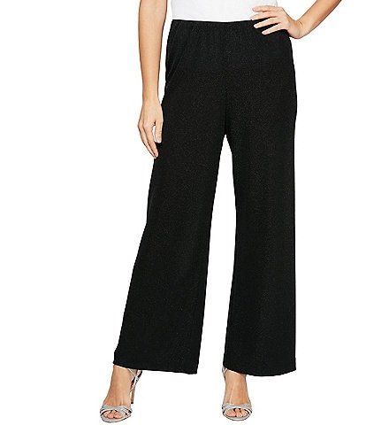 Alex Evenings Metallic Knit Straight Leg Pant