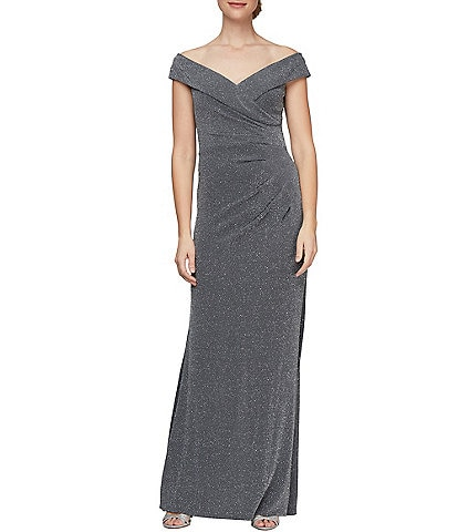 Alex Evenings Metallic Knit Sweetheart Off-The-Shoulder Cap Sleeve Ruched Waist Column Gown