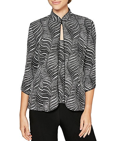 Alex Evenings Metallic Knit Zebra Print Mandarin Collar 2-Piece Twinset
