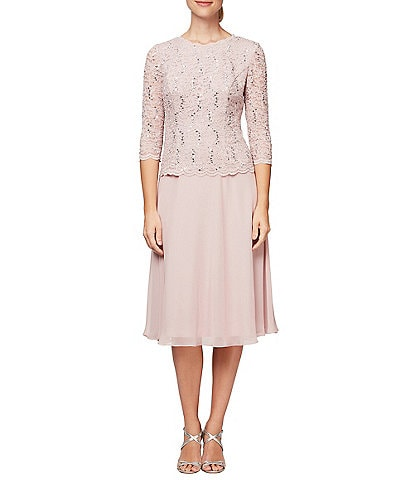 Alex Evenings Sequin Lace Bodice Tea-Length Chiffon A-Line Dress