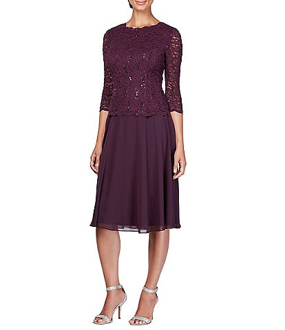 Alex Evenings Sequin Lace Bodice Chiffon A-Line Dress