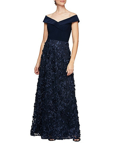 Alex Evenings Off-the-Shoulder Cap Sleeve 3D Embroidered Floral Gown
