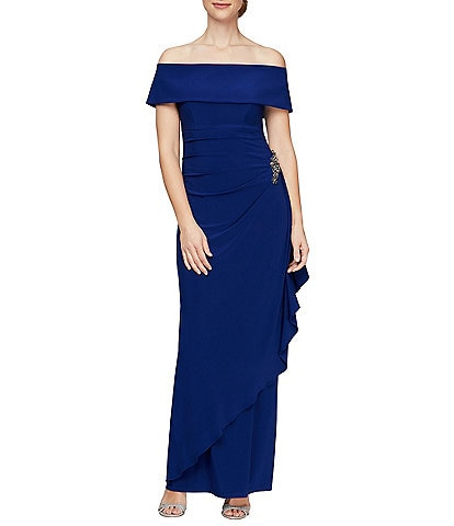 Alex Evenings Off-the-Shoulder Stretch Matte Jersey Ruched Gown