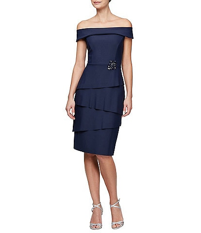 Alex Evenings Off-The-Shoulder Tiered Beaded Sheath Dress