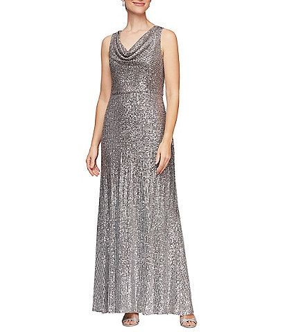 Alex Evenings Ombre Stretch Sequin Sleeveless Cowl Neck Gown