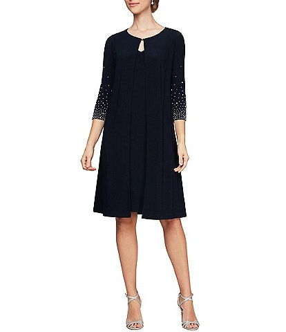 Alex Evenings Pearl Embellished Matte Jersey 3/4 Sleeve Jacket Dress