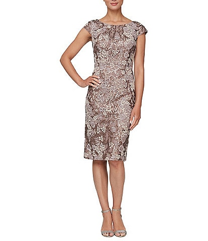 Alex Evenings Petite Embroidered Stretch Tulle Round Neck Cap Sleeve Short Sheath Dress