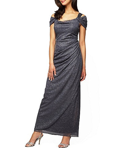 Alex Evenings Petite Exposed-Shoulder Glitter Mesh Gown