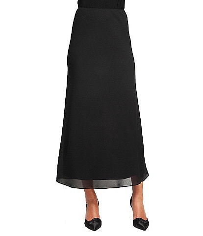 Alex Evenings Petite Georgette Tea-Length Pull-On Skirt
